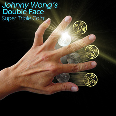Super triple coin DOUBLE FACE - Johnny Wong ( demi dollar )
