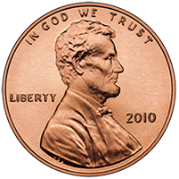 Piece one American penny